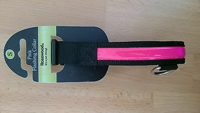 BNWT Rosewood PINK FLASHING COLLAR size SMALL Reflective Dog Puppy Hi-Vis NEW