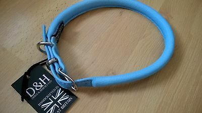 BNWT DOGS & HORSES Rolled Leather DOG COLLAR size 65cm EXTRA LARGE Blue D&H NEW