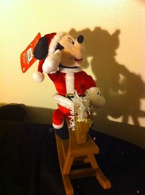 Mickey Mouse Christmas Rocking Horse Musical Animated New - See Video
