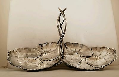 Beautiful 1934 Reed & Barton Sterling Silver Double Lily Pad Dish / Tray #103