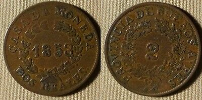 Argentina - Buenos Aires : 1853  2 Rs  VF-XF  # 9   IR3131