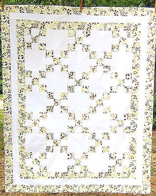(A) Leaves In The Snow ~ Wall Throw Lap Cotton Traditional Irish Chain Quilt Top