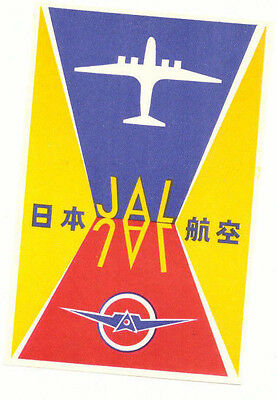 Jal Japan Airlines Great Old Aviation Luggage Label