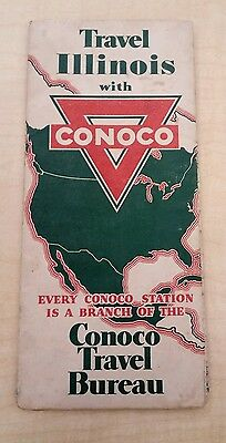 Vintage 1935 ILLINOIS Map by CONOCO Oil Co.