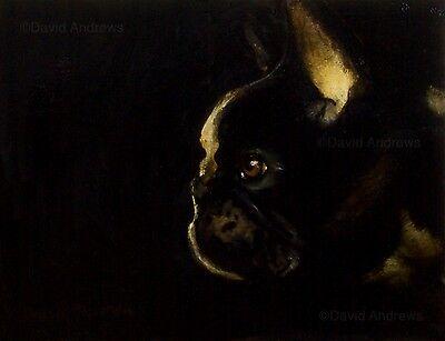 FRENCH BULLDOG : LARGE ORIGINAL OIL PAINTING : Frenchie Dog Art by David Andrews