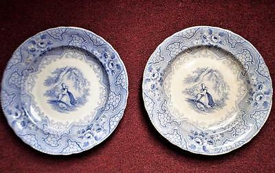 """2 Antique 1800s Blue Transferware Plates Marked PIC NIC G & R L Pastoral 9 1/2"""""""