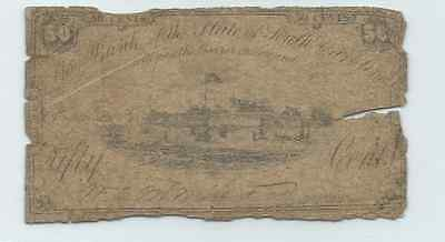 1862 The Bank of the State of South Carolina 50 Cents Fractional Note Civil War