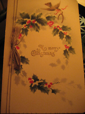 Vtg Art Deco Germany Silk Ribbon Christmas Card Holly Berries / Unsigned