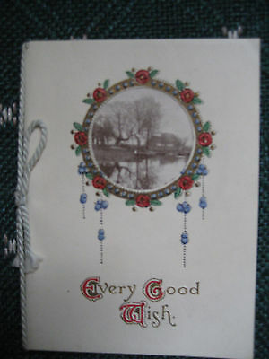 Vtg Victorian British Christmas Card w/Cording WR&S Embossed Cameo Scene