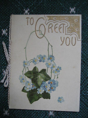 Vtg Victorian British Christmas Card w/Cording Embossed Forget Me Nots