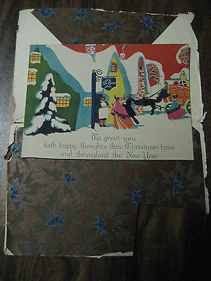 Vtg Single Sided Art Deco Christmas Card w/Tissue Envelope Snowy ENGLISH COTTAGE