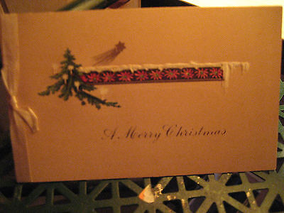 Vtg Art Deco Silk Ribbon Christmas Card CANDLE LIT TREE / Signed
