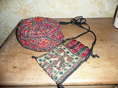 Really Pretty Indian embroidered bag and hat from India