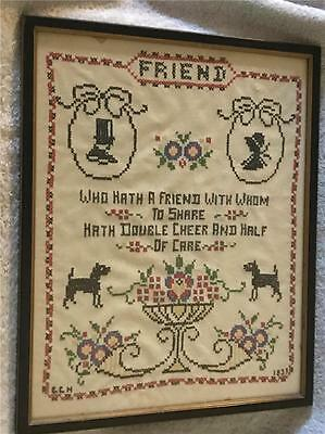 "Antique Cross Stitch Needlepoint Sampler Titled: Friend 1933 - Framed 15"" by 12"""