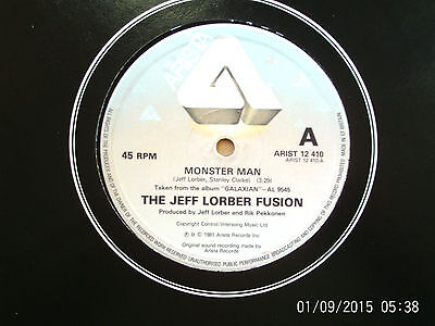 "The Jeff Lorber Fusion Monster Man 12"" Single 1981 N/mint"