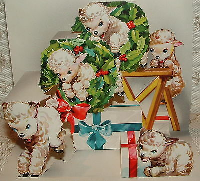 Lg. Pop-up - Lambs Jumping Through Wreaths -40's Vintage Christmas Greeting Card