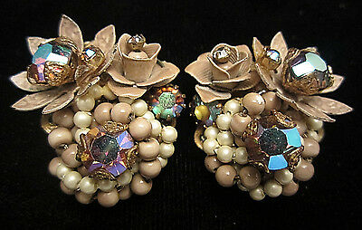 "Vtg 1-1/2"" Unsigned Miriam Haskell Gold Tone Pearl AB Rhinestone Clip Earrings"
