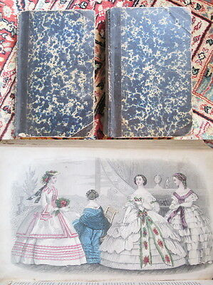 1860 GODEY'S LADY'S BOOK Full Year-Vol.LX & LXI-w/FASHION PLATES,Pattern Layouts