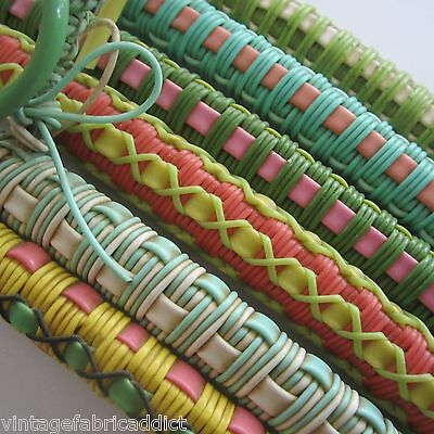 6 Vintage *child Sized * Plastic Tube Woven Coat Hangers 1960S  All Greens