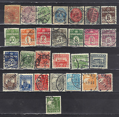 Denmark- Lot Of Early Used Stamps (7D)