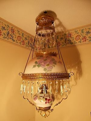 VICTORIAN HANGING OIL LAMP ORNATE BRASS Painted Floral SHADE 43 PRISMS c1880s