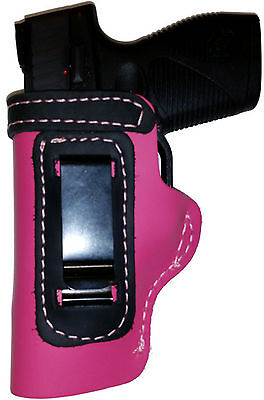PINK w/BLACK OWB Leather Gun Holster YOUR CHOICE:rh,lh-laser-slide-cant-belt-mag