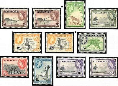 Nyassaland - 1953 QE Set Complete to Five Shillings Lightly Mounted Mint