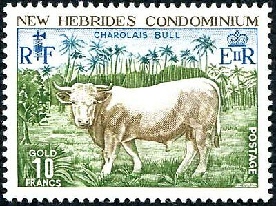 New Hebrides - 1975 10 Francs Charolais Lightly Mounted Mint