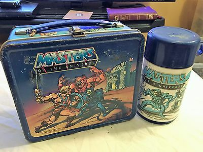 VINTAGE 1983 MOTU Masters of the Universe Metal Lunchbox & Thermos Aladdin Box