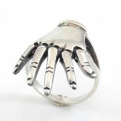Vintage Sterling Silver Articulated Fingers Hand Ring Size 8