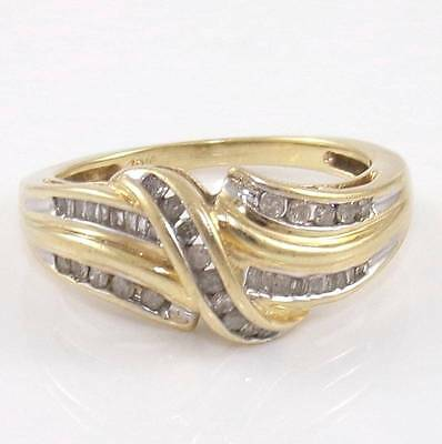 Solid 10K Yellow Gold  Natural Diamond Band Ring Size 6.25