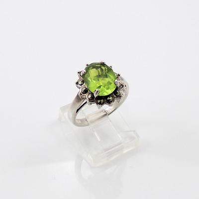 Sterling Silver Vintage Green Peridot Marcasite Halo Ring Size 6