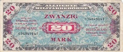 1944 Germany 20 Mark Allied Military Currency Note, Pick 195a
