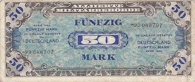 1944 Germany 50 Mark Allied Military Currency Note, Pick 196d
