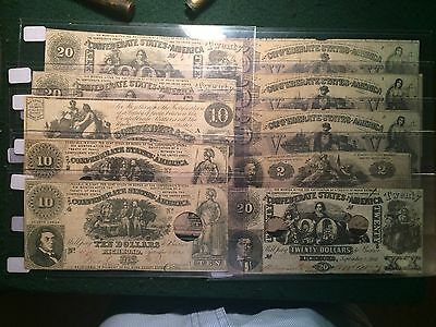 Lot of 10 1861 1862 Confederate States of America Obsolete Notes Civil War