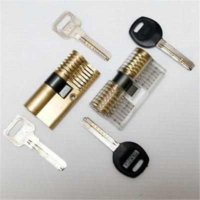 Transparent Cutaway Practice Padlock/Double Sides Lock for Locksmith Learning P^