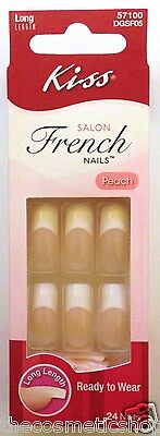 Kiss Salon French Long Length Glue On Nails  # 57100/dgsf05 Peach Full Cover