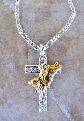 Bull Riders Inspirational Cross  necklace Lets Rodeo Bull cross riding necklace
