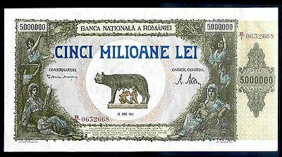 Romania. Five Million Lei, B/1 0632668, 25-6-1947, Very Fine-Extremely Fine.
