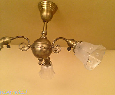 Vintage Lighting circa 1900 early electric 3 arm fixture