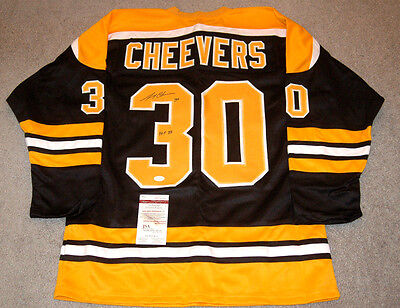 Gerry Cheevers Boston Bruins Autographed Signed Black Style Jersey XL w/coa JSA,