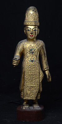 19th Century, Mandalay, Antique Burmese Wooden Standing Nat