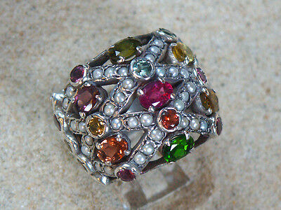 Edwardian ring reproduction set with Tourmaline & Pearls