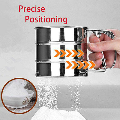 Handle Flour Sifter Cup Precise Positioning Stainless Steel Baking Flour Sieve