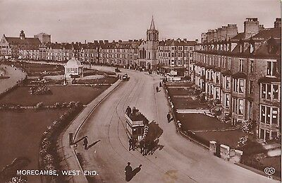 Old Postcard Morecambe Horse Tram Light Railway West End 1910S