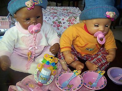 Chou Chou Dolls x2  Dressed with Plates, Spoons , Rattles and Access, in VGC