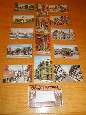 1940s NEW ORLEANS LOUISIANA 14 SMALL VINTAGE LINEN POSTCARDS MINT CONDITION