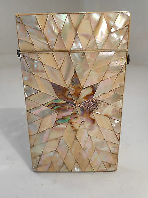 Antique Abalone , Mother of Pearl Card Case    ref  1373