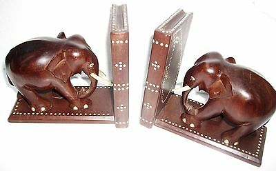 Pair Of Antique  Ceylon Inlaid  Wooden Elephant  Bookends
