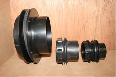 Threaded Tank Connectors - 3 sizes Black Solvent Waste - Pond Pipe Fittings
